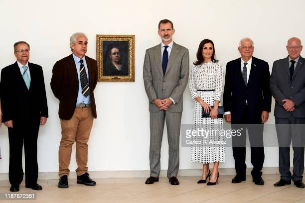 King Felipe VI of Spain and Queen Letizia of Spain attend 'Autorretrato de Goya' exhibition at the Bellas Artes museum on November 14, 2019 in La...
