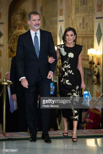 King Felipe VI of Spain and Queen Letizia of Spain attend 'Francisco Cerecedo' Awards 2019 at Westin Palace hotel on November 28 2019 in Madrid Spain
