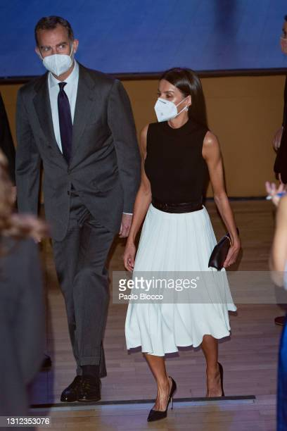 King Felipe VI of Spain and Queen Letizia of Spain attend IFEMA New Brand And Strategy event on April 13, 2021 in Madrid, Spain.
