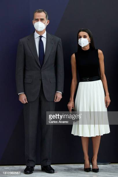 King Felipe VI of Spain and Queen Letizia of Spain attend IFEMA new Brand and strategy presentation at the Ifema Congress Palace on April 13, 2021 in...