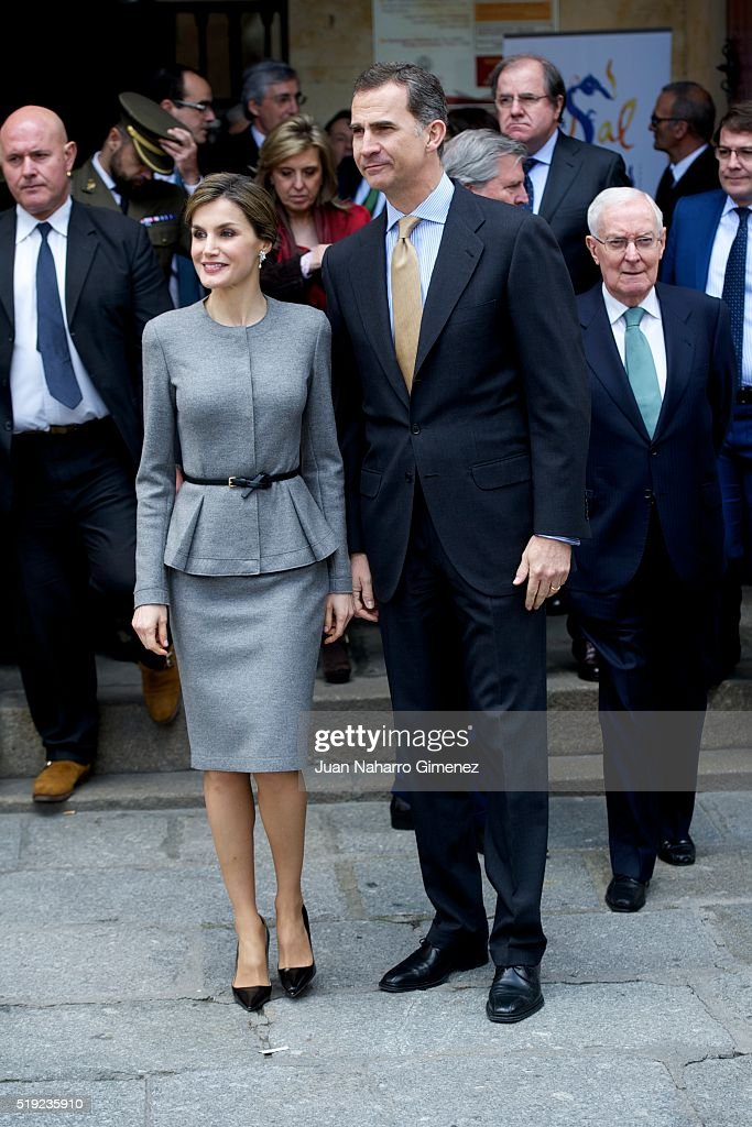 King Felipe VI of Spain and Queen Letizia of Spain (L) attend investiture of honorary doctors by Salamanca's University at Paraninfo of Salamanca's University on April 5, 2016 in Salamanca, Spain.