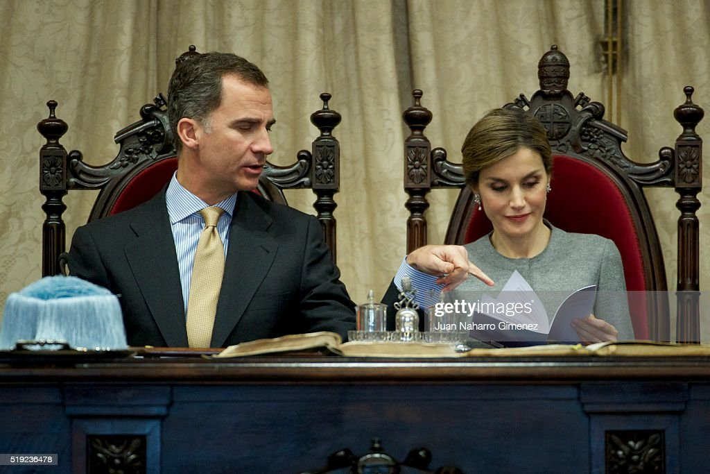 King Felipe VI of Spain and Queen Letizia of Spain (R) attend investiture of honorary doctors by Salamanca's University at Paraninfo of Salamanca's University on April 5, 2016 in Salamanca, Spain.