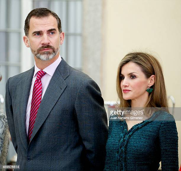 King Felipe VI of Spain and Queen Letizia of Spain attend National Sport Awards 2013 at Royal Palace of El Pardo on December 4 2014 in Madrid Spain