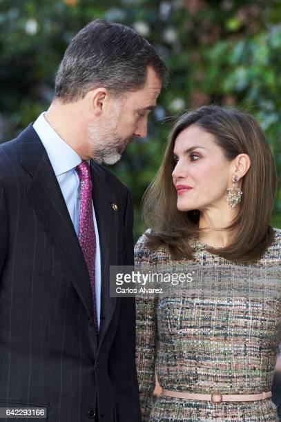 King Felipe VI of Spain and Queen Letizia of Spain attend 'Obras Maestras de Budapest Del Renacimiento a las Vanguardias' exhibition at the...