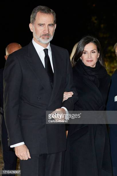 King Felipe VI of Spain and Queen Letizia of Spain attend Placido Arango's Funeral at Los Jeronimos on March 04, 2020 in Madrid, Spain.