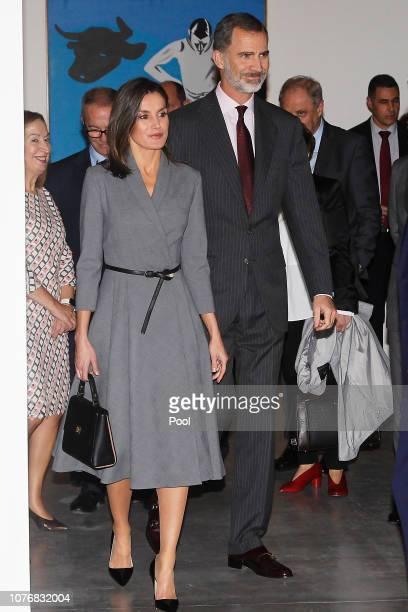 King Felipe VI of Spain and Queen Letizia of Spain attend 'Poeticas de la Democracia Imagenes y Contraimagenes de la Transicion' exhibition at the...