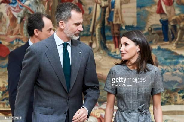 King Felipe VI of Spain and Queen Letizia of Spain attend 'Premios Nacionales De Investigacion' 2018 awards at the El Pardo Palace on February 21,...