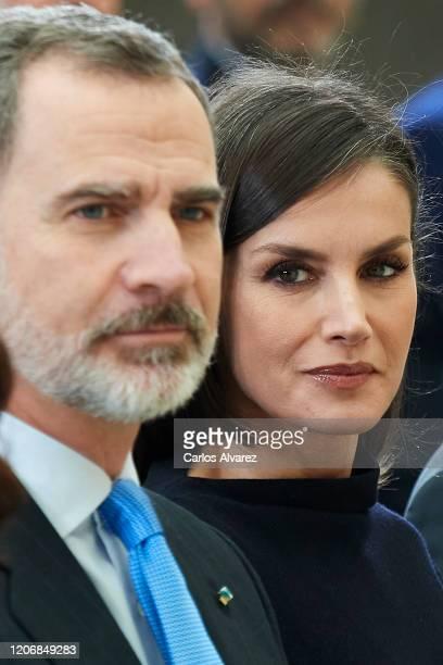 King Felipe VI of Spain and Queen Letizia of Spain attend 'Premios Nacionales De Investigacion' awards 2019 at the El Pardo Palace on February 17,...