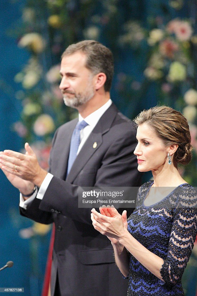 King Felipe VI of Spain and Queen Letizia of Spain attend Prince of Asturias Awards 2014 on October 24, 2014 in Oviedo, Spain.