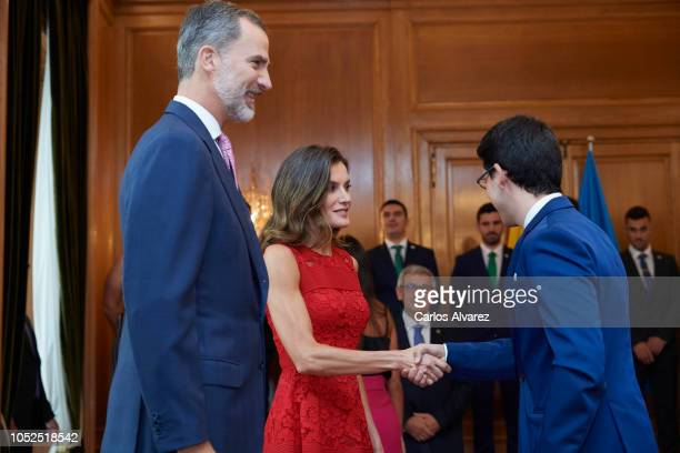 King Felipe VI of Spain and Queen Letizia of Spain attend several audiences at the Reconquista Hotel during the 'Princesa De Asturias' awards 2018 on...
