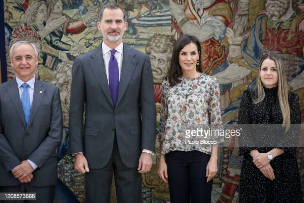 King Felipe VI of Spain and Queen Letizia of Spain attend several audiences at Zarzuela Palace on February 25 2020 in Madrid Spain