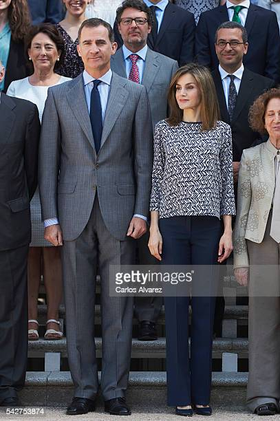 King Felipe VI of Spain and Queen Letizia of Spain attend several audiences at Zarzuela Palace on June 24 2016 in Madrid Spain