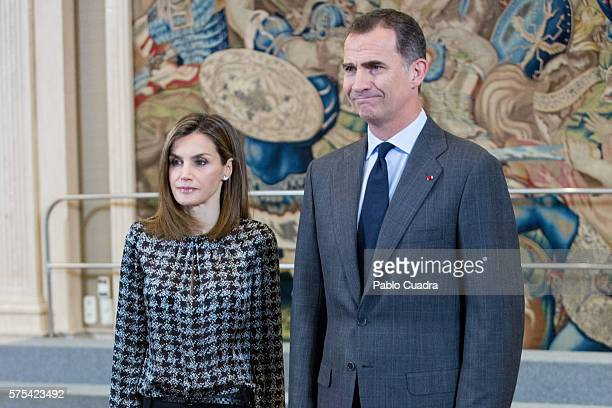 King Felipe VI of Spain and Queen Letizia of Spain attend several audiences at Zarzuela Palace on July 15 2016 in Madrid Spain