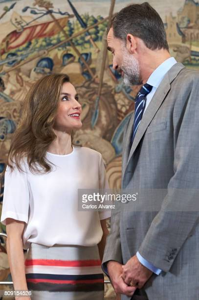 King Felipe VI of Spain and Queen Letizia of Spain attend several audiences at the Zarzuela Palace on July 5 2017 in Madrid Spain