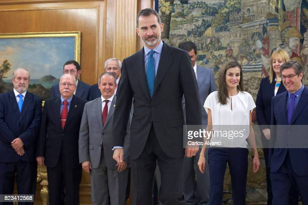 King Felipe VI of Spain and Queen Letizia of Spain attend several audiences at Zarzuela Palace on July 27 2017 in Madrid Spain