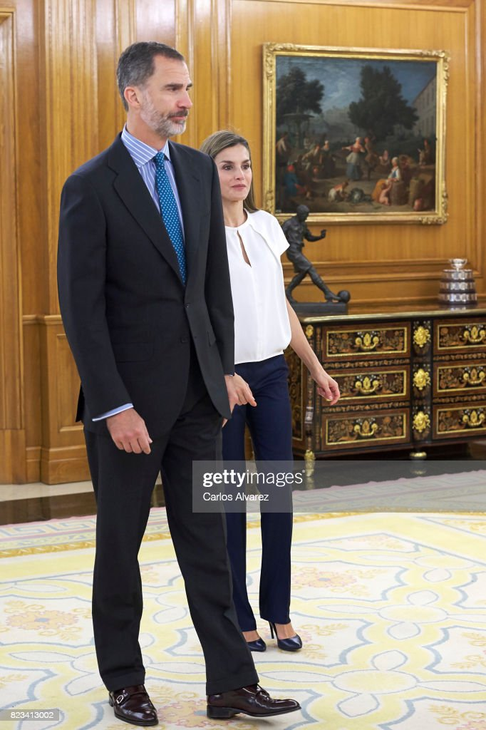 King Felipe VI of Spain and Queen Letizia of Spain attend several audiences at Zarzuela Palace on July 27, 2017 in Madrid, Spain.
