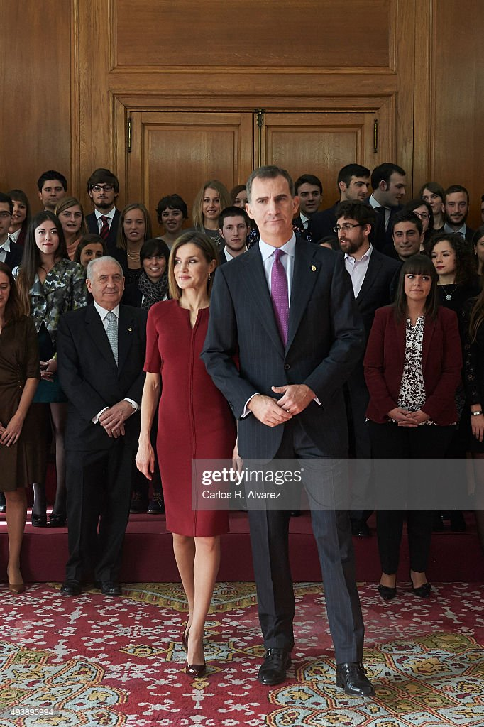 King Felipe VI of Spain and Queen Letizia of Spain attend several audiences during the 'Princess of Asturias' (Princesa de Asturias) Awards 2015 at the Reconquista Hotel on October 23, 2015 in Oviedo, Spain.