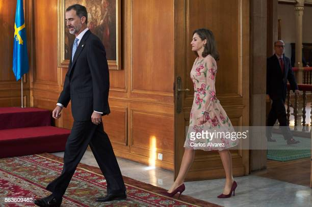 King Felipe VI of Spain and Queen Letizia of Spain attend several audiences during the Princess of Asturias Award 2017 at the Reconquista Hotel on...