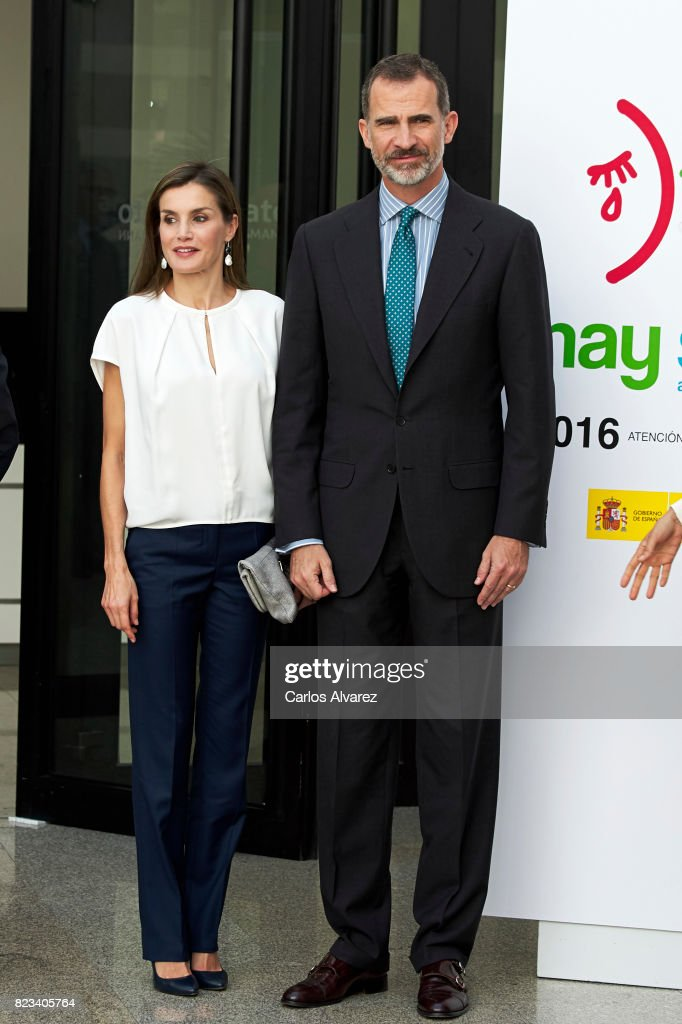 King Felipe VI of Spain and Queen Letizia of Spain attend the 016 telefonic hotline central for gender violence assistance on July 27, 2017 in Madrid, Spain.