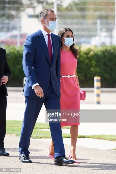 King Felipe VI of Spain and Queen Letizia of Spain attend the 125th anniversary of 'El Heraldo De Aragon' newspaper on September 16 2020 in Zaragoza...