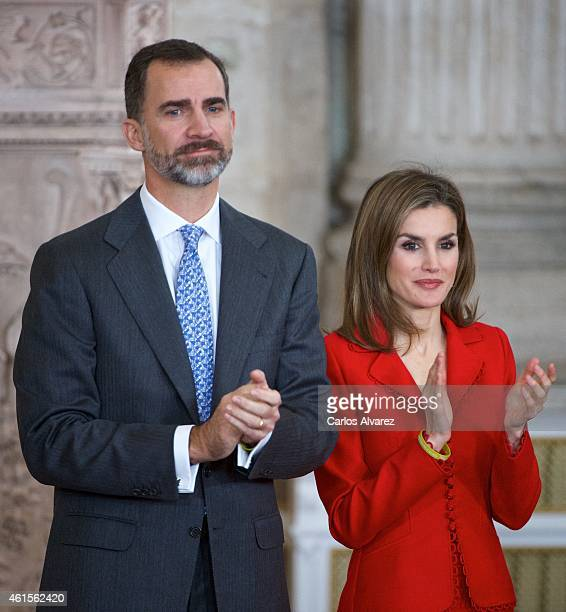 King Felipe VI of Spain and Queen Letizia of Spain attend the Investigation National Awards 2014 at the Royal Palace on January 15 2015 in Madrid...
