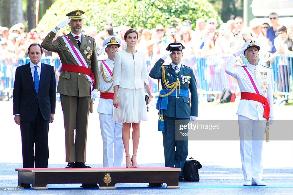 King Felipe VI of Spain and Queen Letizia of Spain attend the 2015 Armed Forces Day at Plaza de la Lealtad on June 6, 2015 in Madrid, Spain.