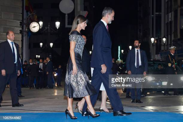 King Felipe VI of Spain and Queen Letizia of Spain attend the 2018 Princess of Asturias Awards at the Campoamor Teather on October 19 2018 in Oviedo...