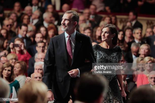 King Felipe VI of Spain and Queen Letizia of Spain attend the 2018 Princess of Asturias Awards Ceremony at the Campoamor Teather on October 19 2018...
