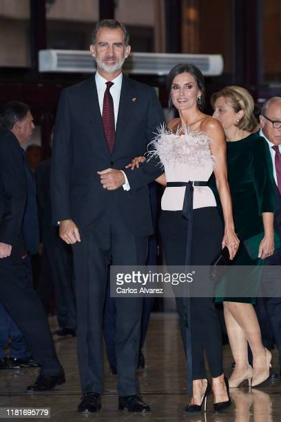 King Felipe VI of Spain and Queen Letizia of Spain attend the 28th Princess of Asturias Awards Concert at Prince Felipe Auditorium during the...