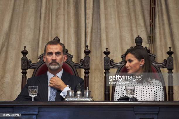 King Felipe VI of Spain and Queen Letizia of Spain attend the 30th anniversary of the ÔMagna Charta UniversitatumÕ at the Salamanca University on...
