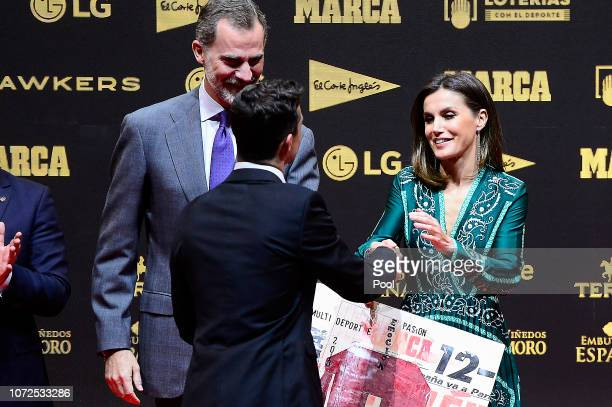 King Felipe VI of Spain and Queen Letizia of Spain attend the 80th anniversary of Marca sports newspaper at the Real Theatre on December 13 2018 in...