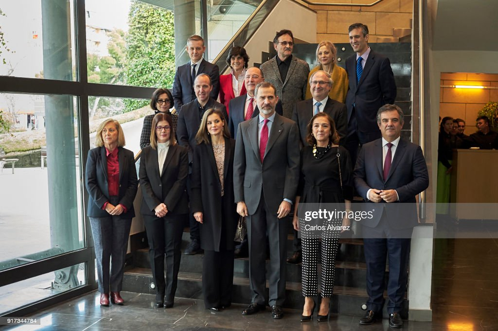 King Felipe VI of Spain (3R) and Queen Letizia of Spain (3L) attend the 'Innovation and Design' awards 2017 at El Bosque Theater on February 12, 2018 in Mostoles, Spain.