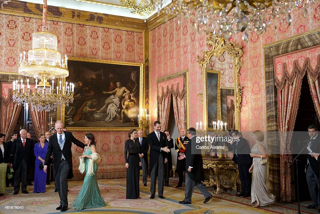 King Felipe VI of Spain and Queen Letizia of Spain (C) attend the annual Foreign Ambassadors reception at the Royal Palace on January 21, 2015 in Madrid, Spain.