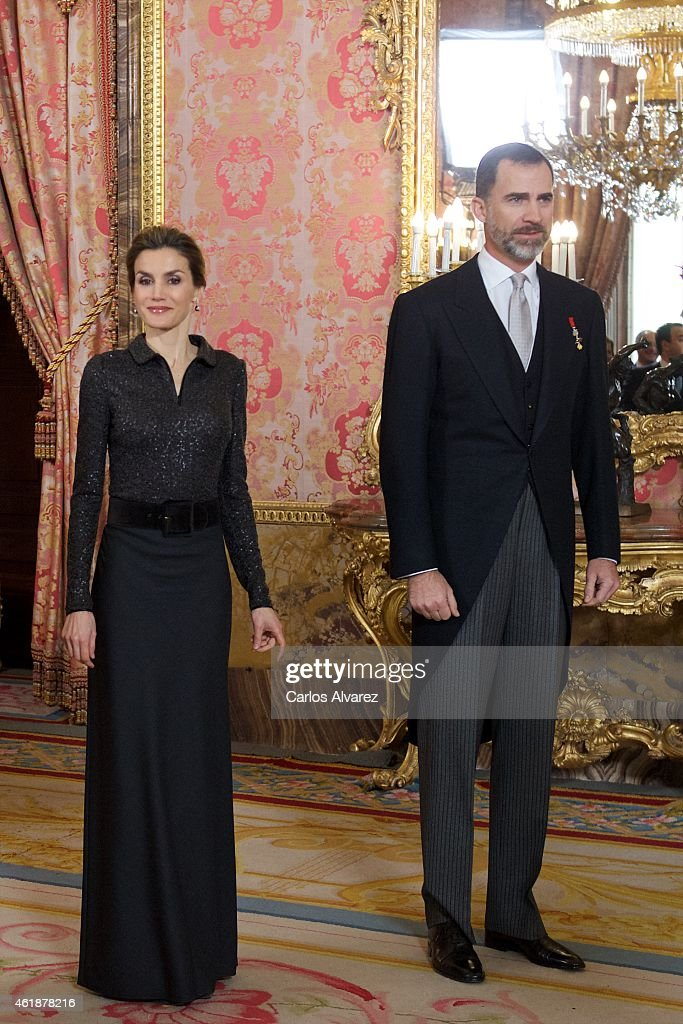King Felipe VI of Spain and Queen Letizia of Spain attend the annual Foreign Ambassadors reception at the Royal Palace on January 21, 2015 in Madrid, Spain.