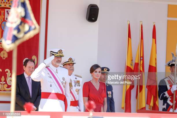King Felipe VI of Spain and Queen Letizia of Spain attend the Armed Forces Day on June 01 2019 in Seville Spain