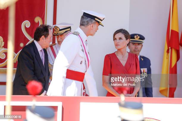 King Felipe VI of Spain and Queen Letizia of Spain attend the Armed Forces Day on June 01, 2019 in Seville, Spain.