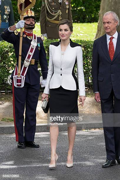 King Felipe VI of Spain and Queen Letizia of Spain attend the Armed Forces Day Hommage on May 28 2016 in Madrid Spain