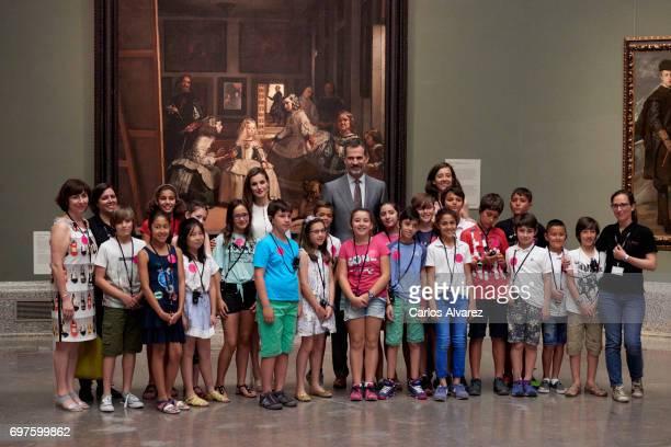 King Felipe VI of Spain and Queen Letizia of Spain attend 'The Art of Educating' school program at El Prado Museum on June 19 2017 in Madrid Spain