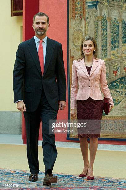 King Felipe VI of Spain and Queen Letizia of Spain attend the Cervantes Institute Annual Meeting at tthe El Pardo Palace on October 9 2014 in Madrid...