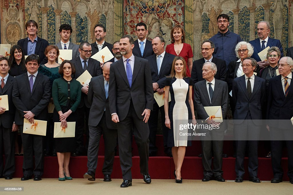 King Felipe VI of Spain and Queen Letizia of Spain (C) attend the 'National Culture' awards at the El Pardo Palace on February 16, 2015 in Madrid, Spain.