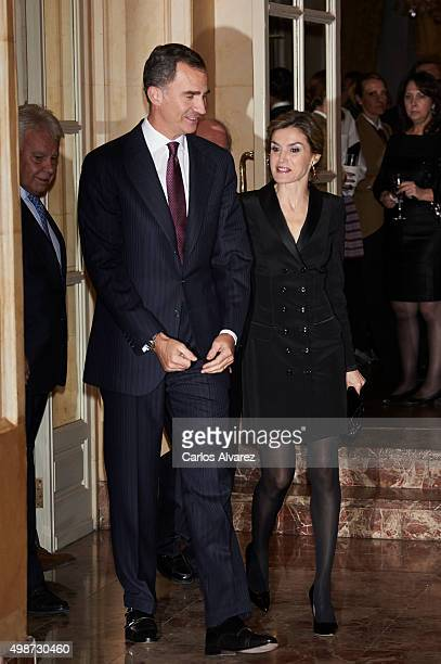 King Felipe VI of Spain and Queen Letizia of Spain attend the Francisco Cerecedo journalism award at the Ritz Hotel on November 25 2015 in Madrid...