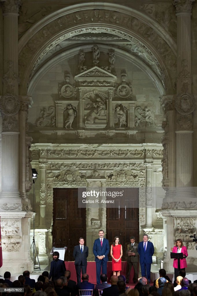 King Felipe VI of Spain and Queen Letizia of Spain (C) attend the 'National Culture' awards at the Santa Maria y San Julian Cathedral on September 13, 2017 in Cuenca, Spain.