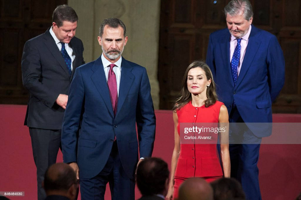 King Felipe VI of Spain (2L) and Queen Letizia of Spain (2R) attend the 'National Culture' awards at the Santa Maria y San Julian Cathedral on September 13, 2017 in Cuenca, Spain.