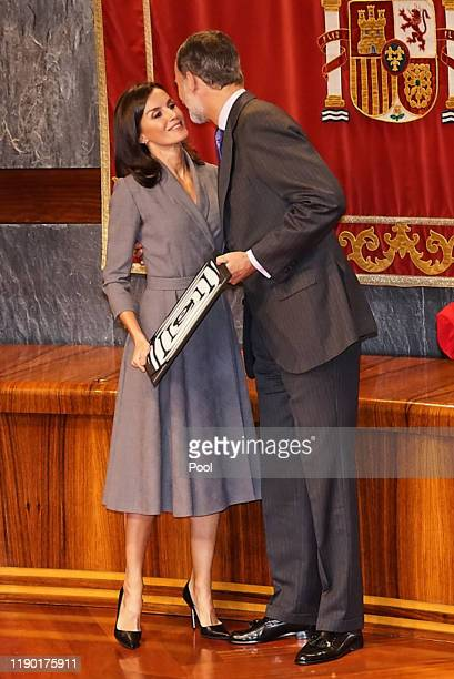 King Felipe VI of Spain and Queen Letizia of Spain attend the Observatory award against domestic and gender violence 2019 at Consejo General del...