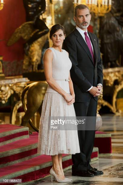 King Felipe VI of Spain and Queen Letizia of Spain attend the National Day reception at the Royal Palace on October 12 2018 in Madrid Spain
