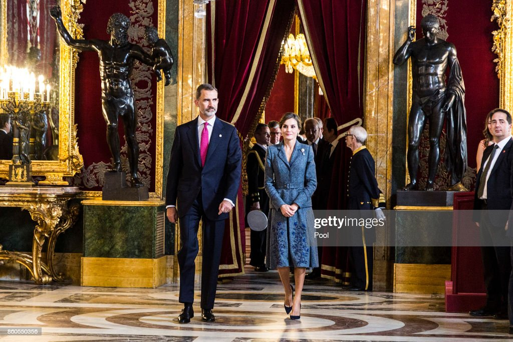 King Felipe VI of Spain and Queen Letizia of Spain attend the National Day reception at the Royal Palace on October 12, 2017 in Madrid, Spain.