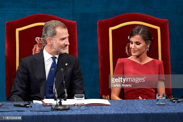 King Felipe VI of Spain and Queen Letizia of Spain attend the Princesa de Asturias Awards 2019 ceremony at the Campoamor Theater on October 18 2019...