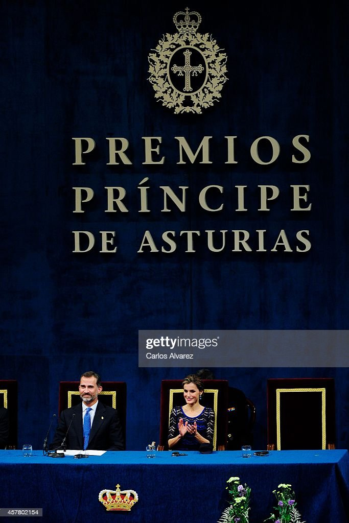 King Felipe VI of Spain and Queen Letizia of Spain attend the Principe de Asturias Awards 2014 ceremony at the Campoamor Theater on October 24, 2014 in Oviedo, Spain.