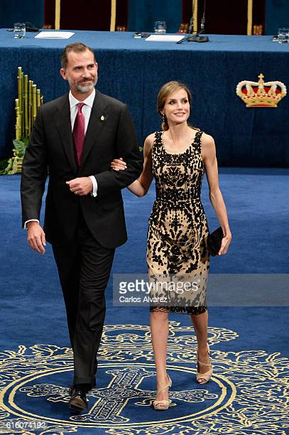 King Felipe VI of Spain and Queen Letizia of Spain attend the Princesa de Asturias Awards 2016 ceremony at the Campoamor Theater on October 21 2016...