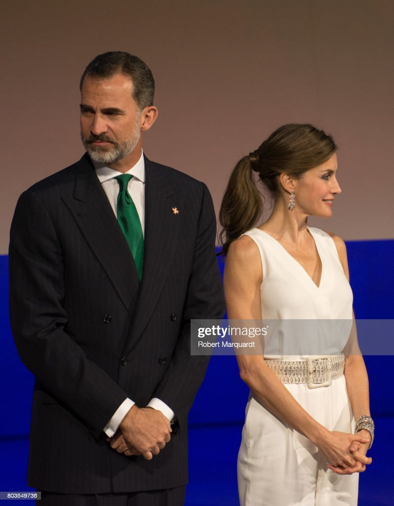 King Felipe VI of Spain (L) and Queen Letizia of Spain (R) attend the 'Princesa de Girona' foundation awards held at the Palacio de Congressos de Girona on June 29, 2017 in Girona, Spain.